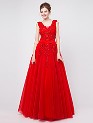 Formal Evening Dress - Lace-up Ball Gown V-neck Floor-length Tulle with Appliques / Beading