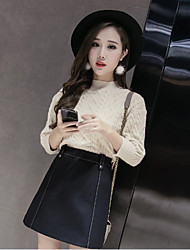 Sign fall and winter 2016 new wild simple bright line decorative woolen bust A word skirt