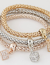 European Style Fashion Simple Rhinestone Square Charm Bracelet Alloy Gift