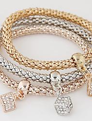 European Style Fashion Simple Rhinestone Square Charm Bracelet Alloy Gift