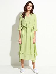 Women's Simple Solid Loose Dress,Round Neck Asymmetrical Linen
