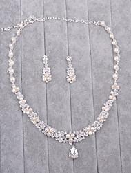 Schmuck 1 Halskette 1 Paar Ohrringe Imitierte Perlen Strass Hochzeit 1 Set Damen Silber Hochzeitsgeschenke