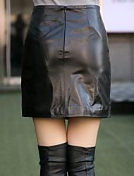 Damen Übergrössen Röcke,Bodycon einfarbig Überkreuzte Rüschen,Ausgehen / Lässig/Alltäglich / Arbeit Sexy / Niedlich / Street SchickHohe