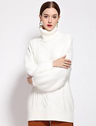 Normal Pullover Femme Décontracté / Quotidien simple,Couleur Pleine Blanc Col Roulé Manches Longues Autres Automne Hiver MoyenNon