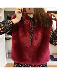 Women's Going out Cute Jackets,Solid Round Neck Sleeveless Red Faux Fur Medium