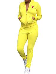 Course / Running Femme Manches longues Compression Elasthanne Vêtements de sport Extensible Tenues de Sport Jaune Automne / HiverS / M /