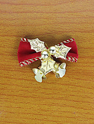1PC 5CM Red Christmas Bows Iron Bell Decorative Bow Christmas Wreath Christmas Tree Decorations(Style random)