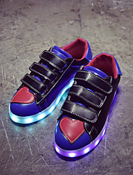 Boy's Sneakers Fall Platform Light Up Shoes PU Casual Flat Heel Magic Tape Black White Other
