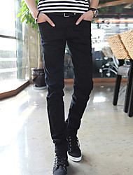 Men's Slim Jeans Pants,Casual/Daily Simple Solid Mid Rise Zipper Cotton / Spandex Micro-elastic Winter
