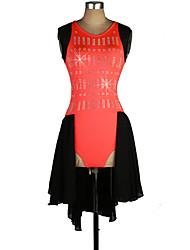 Robe de Patinage Femme Sans manche Sports de neige Robes Haute élasticité Robe de patinage artistique Design AnatomiqueDentelle /
