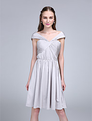 2017 Lanting Bride® Knee-length Jersey Bridesmaid Dress - A-line Off-the-shoulder with Criss Cross
