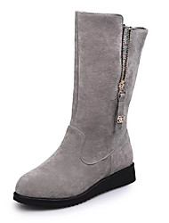 Women's Boots Dull Polish British Style Winter Zipper omfort Suede Dress / Casual Low Heel Zipper