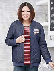 Feminino Curto Casaco Acolchoado,Moda de Rua Sólido Tamanhos Grandes-Algodão Algodão Manga Longa Colarinho Chinês Azul