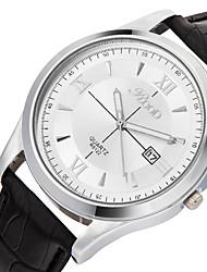 Masculino Relógio de Pulso Quartzo Calendário Couro Legitimo Banda Legal Casual Preta Branco Preto