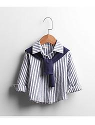 Menina Camiseta Casual / Esportivo Listrado Outono Algodão Manga Longa Regular