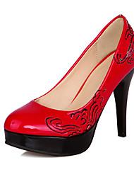 Damen-High Heels-Büro / Lässig-Kunstleder-Stöckelabsatz-Plateau / Passende Schuhe & Taschen-Schwarz / Blau / Rot / Beige