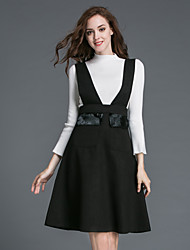 Women's Casual/Daily Simple Fall / Winter Skirt Suits,Solid Turtleneck Long Sleeve Black / Green Polyester