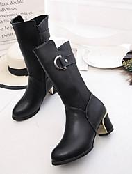 Women's Boots Winter Platform PU Casual Chunky Heel Button Black / Red Walking