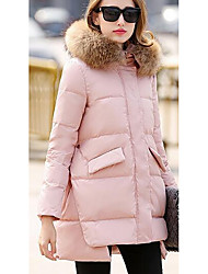 Women's Regular Down Coat,Simple Casual/Daily Solid-Polyester White Duck Down Long Sleeve Shirt Collar Pink / Black