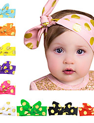10 Colors/set Baby Knotted Headband With Gold Dots Printed Infant Hairband 10 Colors