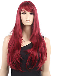 80cm Long Straight Synthetic Wig Wine Red Synthetic Hair Wig Highlighted Heat Resistant Cosplay Wigs