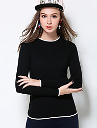 Mujer Regular Pullover Casual/Diario / Tallas Grandes Simple,Un Color Blanco / Negro Escote Redondo Manga Larga Poliéster Otoño / Invierno