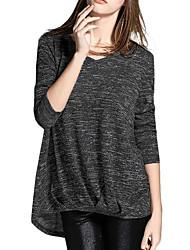 Damen Solide Einfach / Anspruchsvoll Ausgehen / Lässig/Alltäglich T-shirt,V-Ausschnitt Alle Saisons Langarm Rot / Schwarz / Lila