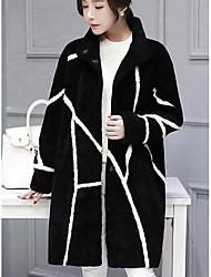 Feminino Casaco de Pêlo Casual / Tamanhos Grandes SimplesColorido Preto LãManga Longa