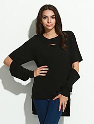 Damen Solide Street Schick Lässig/Alltäglich T-shirt,Rundhalsausschnitt Herbst Langarm Weiß / Schwarz Baumwolle Mittel