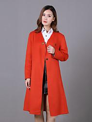 Feminino Casaco Casual / Trabalho Simples / Moda de Rua Inverno,Sólido Vermelho Lã Colarinho Chinês-Manga Longa Média