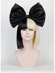 New Short paragraph Hair Bow Set Long Bangs Half Black Half Blonde Sia Styling Party Wigs High - end mesh  black Big bow