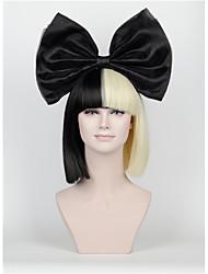 Femme Perruque Synthétique Sans bonnet Court Raide Noir Coupe Carré Avec Frange Perruque de Cosplay Perruque Déguisement