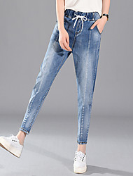 Women's Harem Jeans Pants,Going out Street chic Solid Patchwork High Rise Button Cotton Stretchy Winter
