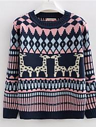 Damen Standard Pullover-Ausgehen / Lässig/Alltäglich Retro / Niedlich Tierfell-Druck Blau / Beige Rundhalsausschnitt Langarm Wolle / Acryl