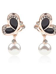 Women Korean New Oil Painting Pearl Crystal Earrings Black White Butterfly Earrings 1pair