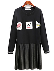 Fashion large size women Long sleeves Round neck Was thin Cartoon printing Skin splicing Dress