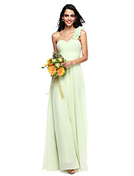 LAN TING BRIDE Floor-length One Shoulder Bridesmaid Dress - Elegant Open Back Sleeveless Chiffon