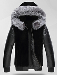 Men's Casual/Daily Simple Fur Coat,Solid Hooded Long Sleeve Winter Black Faux Fur Medium
