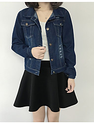 Sign autumn new long-sleeved denim jacket blouses short paragraph Slim retro frayed jacket