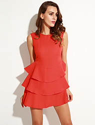 Women's Ruffle Vintage/Sexy/Beach/Casual/Cute/Party/Plus Sizes Long Sleeve Above Knee Dress