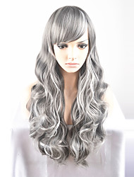 Europe and the United States Ms. Long New Year fashion long gray hair high-temperature wire wig