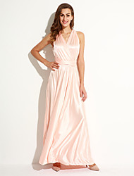 Women's Sexy Solid Swing Dress,Asymmetrical Maxi Polyester