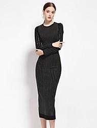 Moulante Robe Femme Décontracté / Quotidien simple,Couleur Pleine Col Arrondi Midi Manches Longues Noir Polyester / Nylon / Spandex
