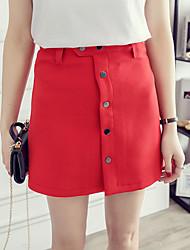 Damen Einfach Über dem Knie Röcke A-Linie einfarbig