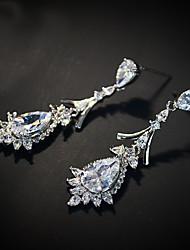 Earring Rhinestone Earrings Set Jewelry Women Wedding / Party Rhinestone / Silver Plated 1 pair Clear