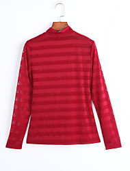 Women's Going out Street chic Fall Blouse,Striped Crew Neck Long Sleeve Red / Black Polyester Thin