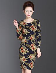 Mujer Vaina Vestido Casual/Diario / Tallas Grandes Tejido Oriental,Floral Escote Redondo Sobre la rodilla Manga Larga Azul Otro OtoñoTiro
