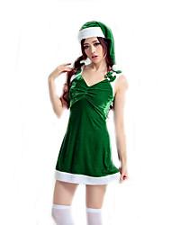 Fantasias de Cosplay Ternos de Papai Noel Cosplay de Filmes Verde Cor Única Vestido / Chapéu Natal Feminino Poliéster