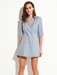 Women's V Neck Button Mini Dress , Linen Gray Vintage/Casual/Work