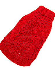 Dog Sweater Red / Yellow Dog Clothes Winter Solid Keep Warm